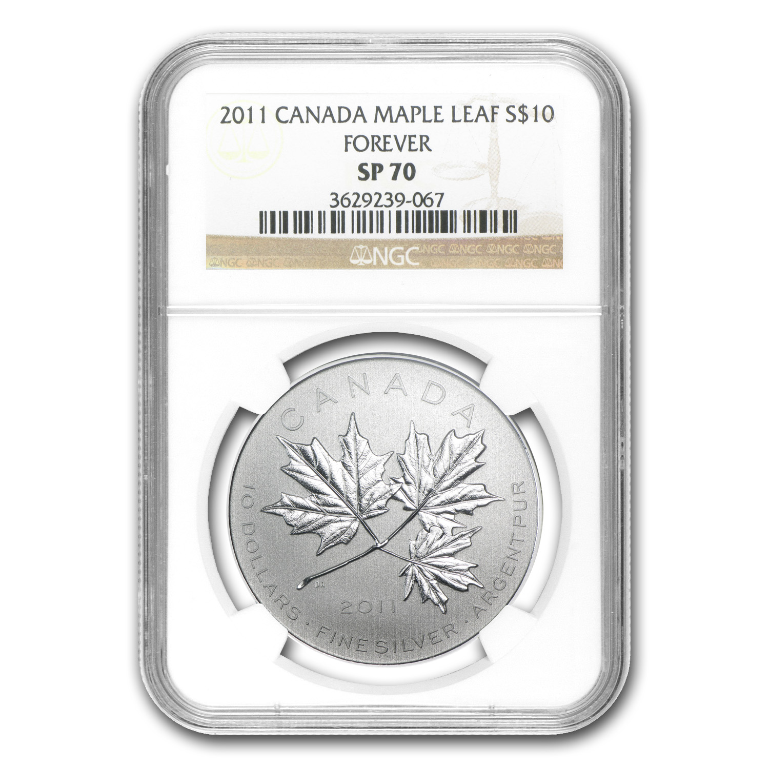 2011 Canada 1/2 oz Silver $10 Maple Leaf Forever SP-70 NGC